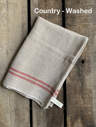 "Charvet Éditions ""Country Washed"" (Red), Natural woven linen tea towel.  Made in France."