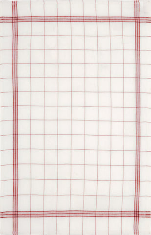 "Charvet Editions ""Bistro"" (Red), Natural woven linen tea towel. Made in France."