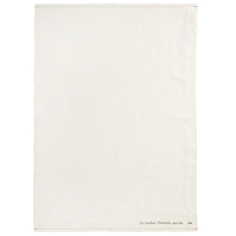 "Charvet Éditions ""LTF Pur Lin"" (Blanc), Natural woven linen tea towel. Made in France. - Home Landing"