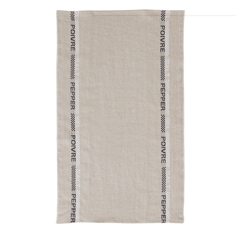 "Charvet Éditions ""Poivre et Sel"" (Black & White), Natural woven linen tea towel. Made in France. - Home Landing"