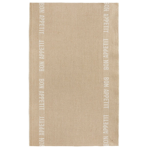 "Charvet Éditions ""Bon Appetit"" (White), Natural woven linen tea towel. Made in France. - Home Landing"