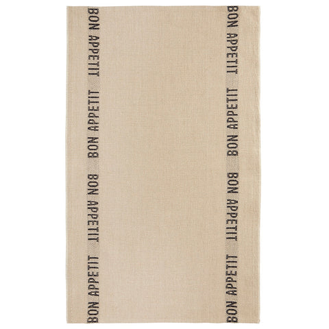 "Charvet Éditions ""Bon Appetit"" (Black), Natural woven linen tea towel. Made in France. - Home Landing"