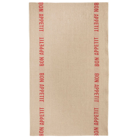"Charvet Éditions ""Bon Appetit"" (Red), Natural woven linen tea towel. Made in France. - Home Landing"