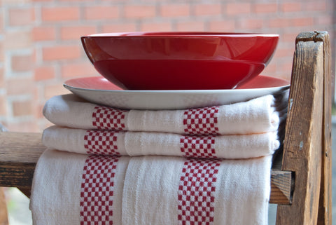"Charvet Éditions ""Lustucru"" (Red), Natural woven linen tea towel. Made in France."