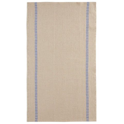 "Charvet Éditions ""Mosaique"" (Blue), Natural woven linen tea towel. Made in France. - Home Landing"