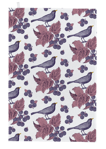 "Thornback & Peel ""Blackbird & Bramble"", Pure cotton tea towel. Hand printed in the UK. - Home Landing"