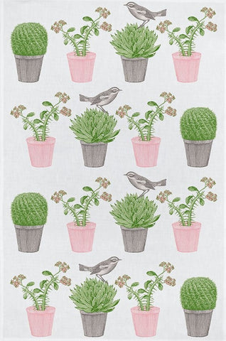 "Thornback & Peel ""Cactus & Bird"", Pure cotton tea towel. Hand printed in the UK. - Home Landing"