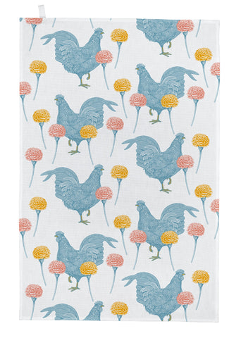 "Thornback & Peel ""Chicken & Carnation"", Pure cotton tea towel. Hand printed in the UK. - Home Landing"