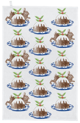 "Thornback & Peel ""Christmas Pudding"", Pure cotton tea towel. Hand printed in the UK. - Home Landing"