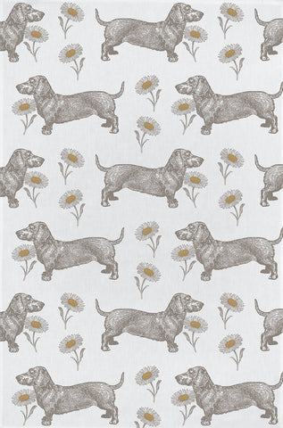 "Thornback & Peel ""Dog & Daisy"", Pure cotton tea towel. Hand printed in the UK. - Home Landing"
