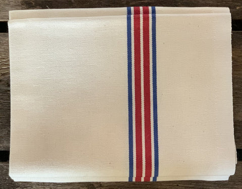 "Charvet Éditions ""Piano"" (Red / Blue), Woven linen union tea towel. Made in France."
