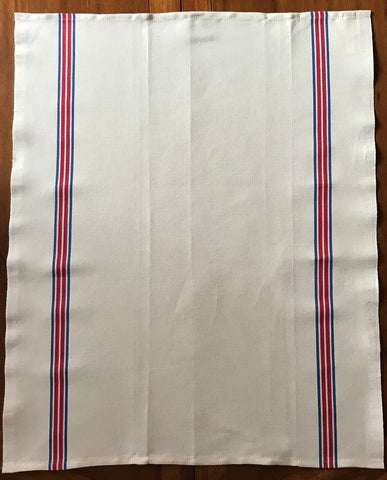 "Charvet Éditions ""Piano"" (Red / Blue), Natural woven cotton and linen tea towel. Made in France. - Home Landing"