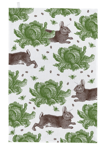 "Thornback & Peel ""Classic Rabbit & Cabbage"", Pure cotton tea towel. Hand printed in the UK. - Home Landing"