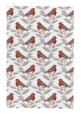 "Thornback & Peel ""Robin and Holly"", Pure cotton tea towel. Hand printed in the UK."