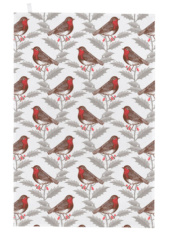 "Thornback & Peel ""Robin and Holly"", Pure cotton tea towel. Hand printed in the UK - Home Landing"