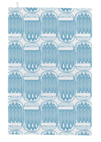 "Thornback & Peel ""Sardine Tins, Blue"", Pure cotton tea towel. Hand printed in the UK. - Home Landing"