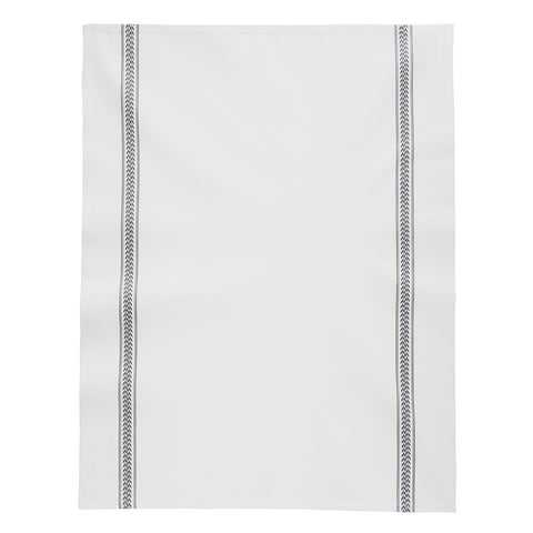 "Charvet Éditions ""EPI - Grey"", white woven cotton tea towel. Made in France. - Home Landing"