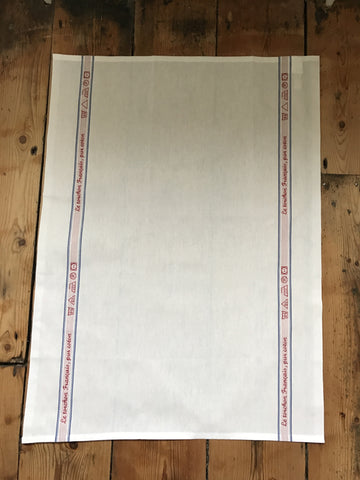 "Charvet Éditions ""Le Tourchon Français"", white woven cotton tea towel. Made in France."