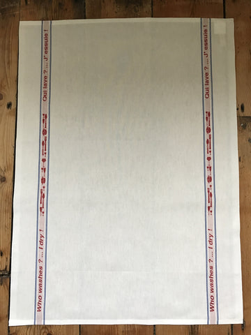 "Charvet Éditions ""Qui Lave? J'Essuie!"", white woven cotton tea towel. Made in France. - Home Landing"
