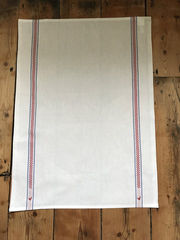 "Charvet Éditions ""Vichy / Coq"", white woven cotton tea towel. Made in France."