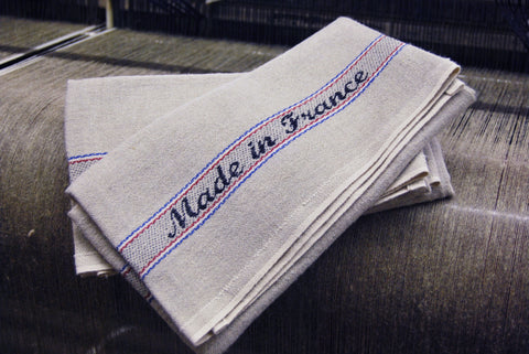 "Charvet Editions ""Made in France"", Natural woven linen and cotton tea towel. Made in France."