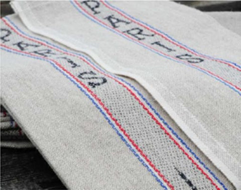 "Charvet Editions ""Paris"", Natural woven linen and cotton tea towel. Made in France."