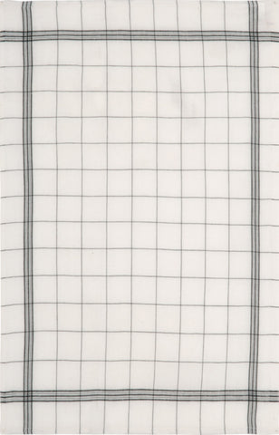 "Charvet Éditions ""Bistro"" (Black), Natural woven linen tea towel. Made in France. - Home Landing"