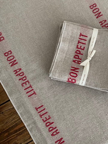 "Charvet Éditions ""Bon Appetit"" (Red), Natural woven linen table runner. Made in France."
