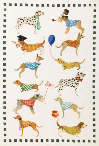 "Tessitura Toscana Telerie, ""Best Friends - Cani"", Pure linen printed tea towel"