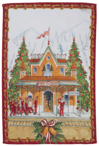 "Tessitura Toscana Telerie, ""Christmas Express-Rosso"", Pure linen printed tea towel."