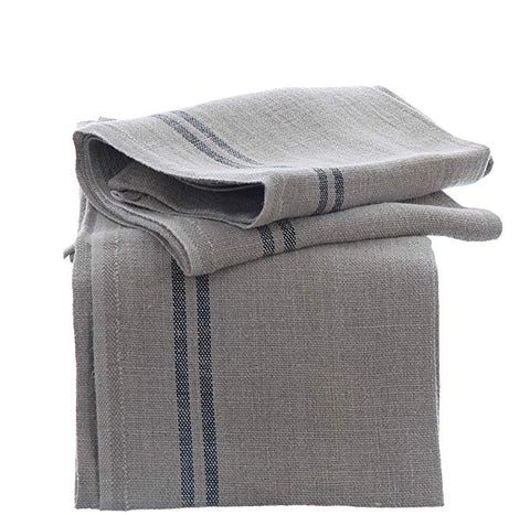 "Charvet Éditions ""Country"" (Blue), Natural woven linen tea towel. Made in France."