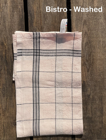"Charvet Éditions ""Bistro"" (Guimauve), Natural woven linen tea towel. Made in France."