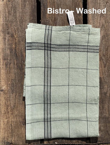 "Charvet Éditions ""Bistro"" (Sauge), Natural woven linen tea towel. Made in France."