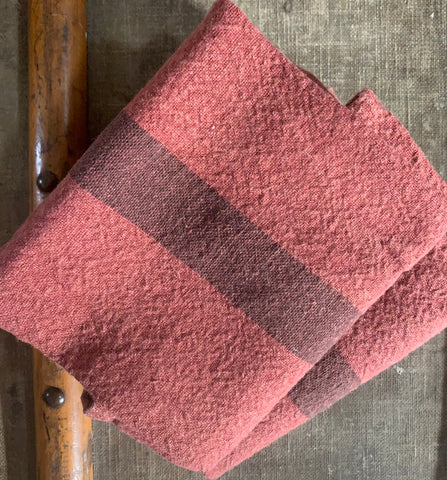 "Charvet Éditions ""Doudou Stripe"" (Brique & Marron), Natural  linen tea towel. Made in France."