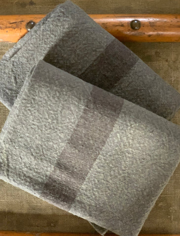 "Charvet Éditions ""Doudou Stripe"" (Oxyde & Marron), Natural  linen tea towel. Made in France."