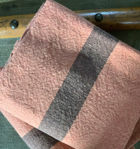"Charvet Éditions ""Doudou Stripe"" (Terracotta & Marron), Natural linen tea towel. Made in France."