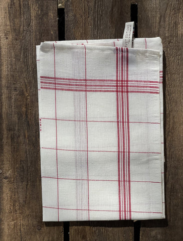 "Charvet Éditions ""Bistro"" (Red), Natural woven linen tea towel. Made in France."