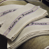 "Charvet Éditions ""Made in France"", Natural woven linen and cotton tea towel. Made in France. - Home Landing"