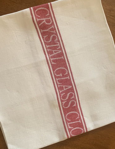 Thomas Ferguson Quality Linen Crystal Glass Cloth – Red Stripe. Ireland.