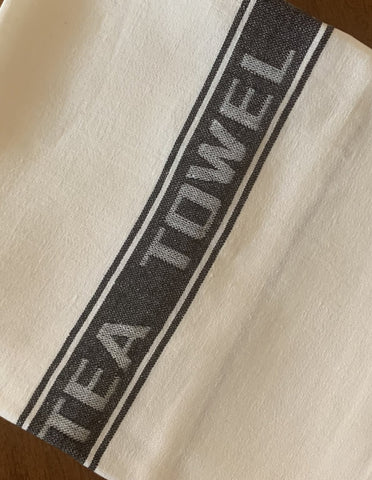 Thomas Ferguson Pure Fine Woven Irish Linen Tea Towel - Black Stripe, Ireland.