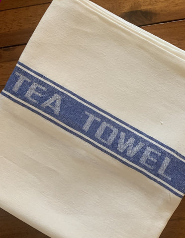 Thomas Ferguson Pure Fine Woven Irish Linen Tea Towel - Blue Stripe, Ireland.