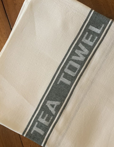 Thomas Ferguson Pure Fine Woven Irish Linen Tea Towel - Green Stripe, Ireland.