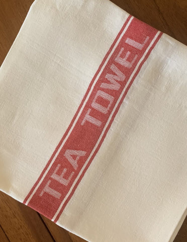Thomas Ferguson Pure Fine Woven Irish Linen Tea Towel - Red Stripe, Ireland.