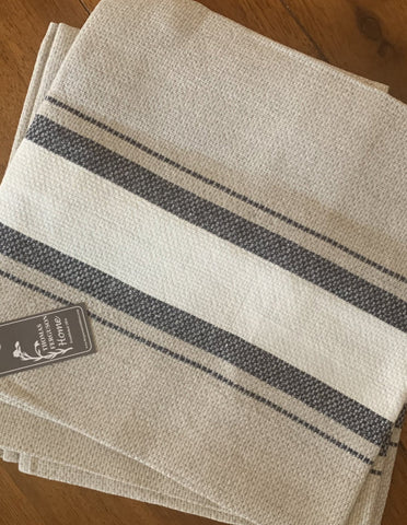 Thomas Ferguson Linen Huckaback Tea Towel. Natural With Navy Stripe, Ireland. - Home Landing