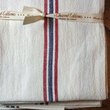 "Charvet Éditions ""Drapeau - Blanchi"", White woven linen tea towel. Made in France."