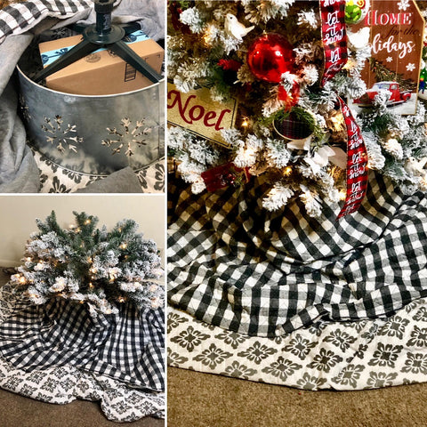 Christmas Tree base with double tree skirts in buffalo check pattern