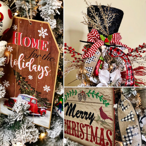 Vintage farmhouse signs for Christmas tree decorating and Christmas Tree top hat topper