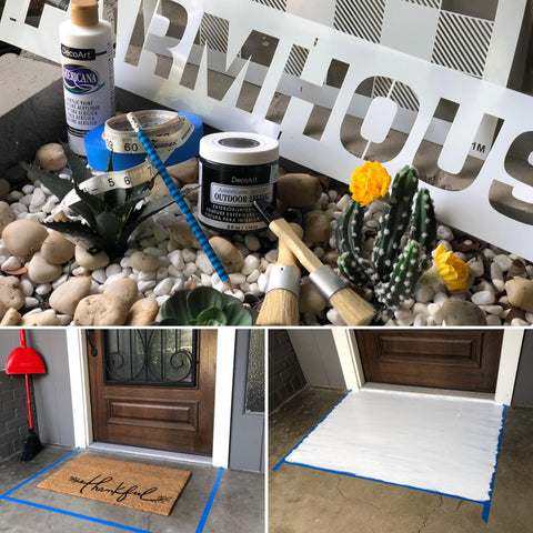 supplies for making a painted concrete diy buffalo check doormat