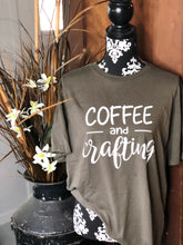 Load image into Gallery viewer, Coffee and Crafting -- Bella Canvas Crewneck Tee Super Soft Army Green Trendy T-shirt Sizes XS-XXL