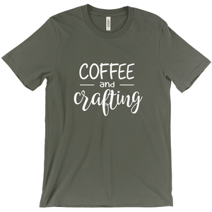 Coffee and Crafting -- Bella Canvas Crewneck Tee Super Soft Army Green Trendy T-shirt Sizes XS-XXL